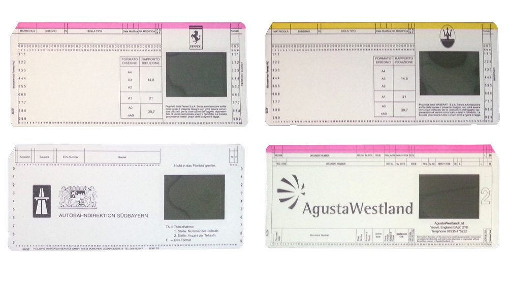 Microfilm cards for microfilm reader printer
